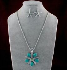 US SELLER Starfish Turquoise Antique Silver NECKLACE & EARRING JEWELRY Set