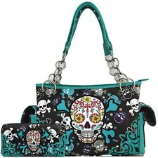Sugar Skull Cross Bone Fashion Handbag Women Concealed Carry Purse / Wallet Set