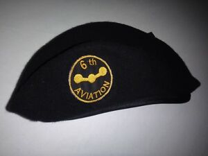 US Army 6th AVIATION PLATOON Black Color Wool Beret Made In USA Never Worn