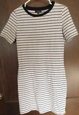 Topshop Dress US 6 UK 10 Black White Orange Striped Knee Length Short Sleeve
