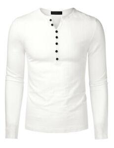 Men's Casual Henley Button Cuffs Cardigan Long Sleeve White T-Shirts