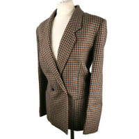 M&S Size 16 Beige Blue Red Wool Check Double Breasted Jacket Pockets Womens