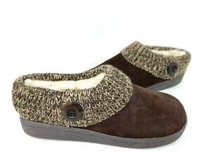 Clarks Women's Augusta Indoor/Outdoor Fleeced Lined Slippers Brn Size:8 142R az