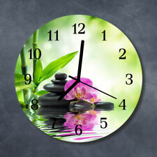 Glass Wall Clock Kitchen Clocks 30 cm round silent Orchid Spa Green