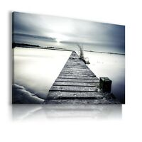 PIER SEA BEACH SUNSET Perfect View Canvas Wall Art Picture  AB59 MATAGA .