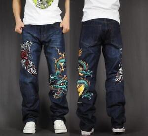 Men's Skate Baggy Loose Rap Hip Hop Jeans Denim Print Trousers Long Pants LLP0