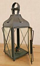 Ancienne Lanterne à Bougie à Poser ou Pendre Fer Forgé Noir Numéroter 4 Vintage