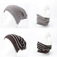 Womens Pinstriped Reversible Knit Hat Beanie Skull Cap Muffler Scarf Neck Warmer