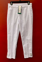 Soft Surroundings Pants NWT Small White Slim Leg Jeans Super Stretch Snap Capri