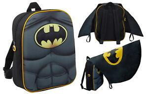 Boys Batman 3D Backpack With Cape in Pocket Kids Dress Up Costume Rucksack Bag