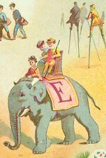 1870's-80's Lovely Alphabet Elephant Stilt Walkers Victorian Scrapbook Card F85