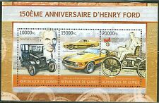 GUINEA 2013 150TH BIRTH ANNIVERSARY HENRY FORD CAR MAKER SHEET