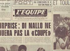 journal  l'equipe 21/10/74 RUGBY BEZIERS ST JEAN DE LUZ FOOT LES AS DE MARSEILLE