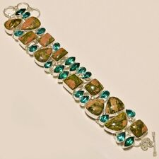 76 Gm Natural Unakite Cabs,Chrome Diopside Cut Silver Overlay Bracelet 8""