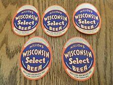 5 Vintage Million's Wisconsin Select Irtp Beer Labels New Lisbon, Wisconsin Sm
