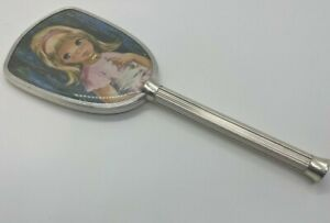 Rare Silver Antique Beautiful Hand Held Mirror Collectible Item Little Girl