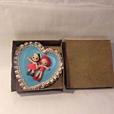 Vtg MCM Valentines Day Heart Shaped Candy Box Felt Pixie Elf Boy Girl Reading PA
