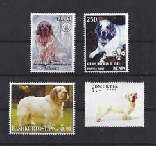 Dog Full Body Photo Study Postage Stamp Collection Clumber Spaniel 4 x Mnh
