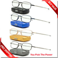 FOLDING READER WITH METAL CASE READING GLASSES LENS 2 PAIR PACK COMPACT UNISEX