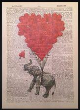 Vintage Elefanten Muster Bild Liebe Herz Wörterbuch Buch Seite Wandkunst Tiere
