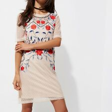 River Island cream floral embroidered t-shirt mesh dress Size 10