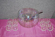 West Virginia Glass Loop Optic Iridescent Luster Punch Bowl Set with Ladle M3945
