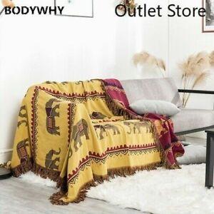 Bohemian 100% Cotton Tassel Elephant Blanket Sheet Quilt Throw Blanket Sofa Bed