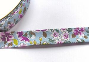 1 m blaues Schrägband mit Blumenmuster  Blumen 18 mm   Einfassband Borte