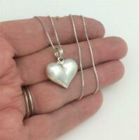 """Vintage Sterling Silver Italy Puffy Heart Pendant Chain Necklace 18"""" Long"""
