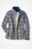 Coldwater Creek Jacket Petite L Reversible Navy Blue Mandala Cotton
