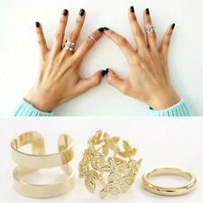 3 pcs Shiny Punk Polish GOLD Stack Flower Band Midi Mid Finger Knuckle Ring