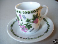 Unsigned Demitasse Espresso cup & Saucer With Bug & Flowers In Good Condition