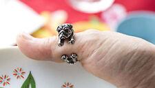 Pug Dog Rings - Silver - Adjustable (R4)