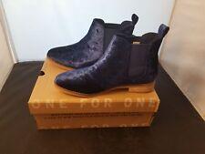 NIB Toms Ella Size 6 US Navy Blue Colorway Velvet Slip In Boots Brand New Flashy