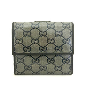 GUCCI GG Logo Glay Patent Leather Bifold Wallet /82669