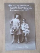 VINTAGE 1913 GREETINGS POSTCARD - A HAPPY BIRTHDAY - YOUNG BOY & GIRL