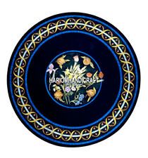 Beautiful Blue Marble Coffee Table Top Inlay Floral Design Furniture Decor H5145