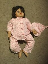 "Heritage Mint Ltd 20"" Vinyl Doll. Brown Hair And Eyes. Pink Outfit."