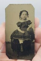 Antique Victorian Tintype Photograph Creepy Little Girl In Dress Painted Blush