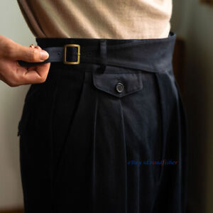 Summer Vintage Gurkha Pants Men's Straight Cotton Naples Pants Italian Trousers