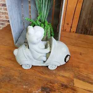 Frosch im Auto Solar Licht Dekofigur Figur Garten 41 cm Stein Optik Wetterfest