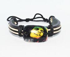 Leather bracelet with Bob Marley charm rasta reggie Jamaica