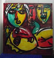"Keil ""Komposition aus Köpfen mit Davidstern"", großformatiges Ölgemälde, Nr. 53"
