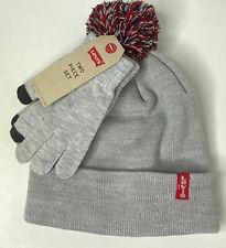 NWT 4-12 Yr Big Boy Levi's PomPom Beanie & Touchscreen Gloves 2 Piece Set Gray