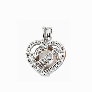5PC Best MOM Heart Pearl Cage Silver Tone Pendant For Oyster Pearl Wish Necklace