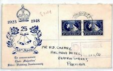 CS287 South Africa SILVER WEDDING FDC 1948 ILLUSTRATED First Day Cover ROYALTY
