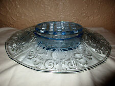 Fostoria Azure Blue 278 Versailles Etch Centerpiece Bowl w/ Flower Holder Insert