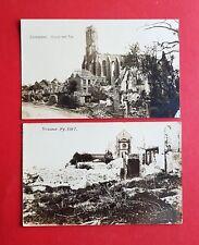 2 x Militär Foto AK Frankreich 1915/17 Zonnebeke Kirche und Somme-Py. ( 38649