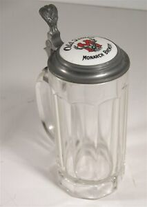 1910s MONARCH BREWERY OF CHICAGO ADVERTISING LIDDED GLASS STEIN / BEER MUG