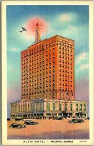 WICHITA, Kansas Postcard ALLIS HOTEL Street View Curteich Linen 1942 Cancel